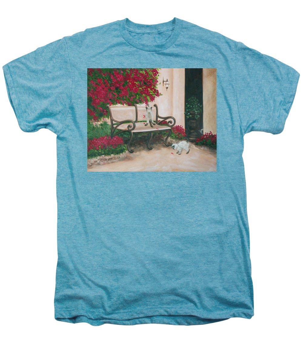 Cat Fine Art Men's Premium T-Shirt featuring the painting Cat Art Print On Canvas Oil Painting Hire Commission Pet Portrait Artist by Diane Jorstad