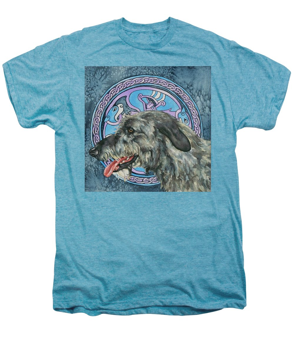 Celtic Men's Premium T-Shirt featuring the painting Celtic Hound by Beth Clark-McDonal
