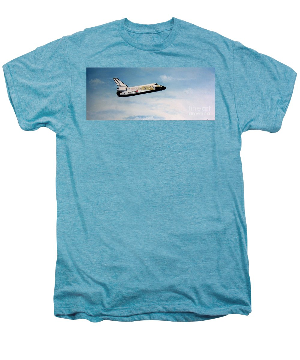 Shuttle Men's Premium T-Shirt featuring the painting Challenger by Murphy Elliott