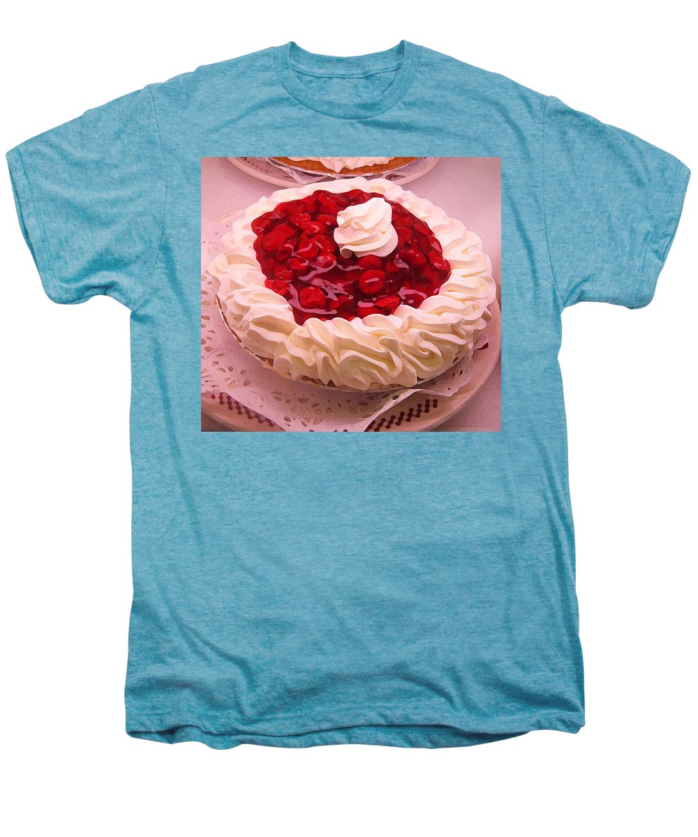 Still Life Men's Premium T-Shirt featuring the painting Cherry Pie With Whip Cream by Amy Vangsgard