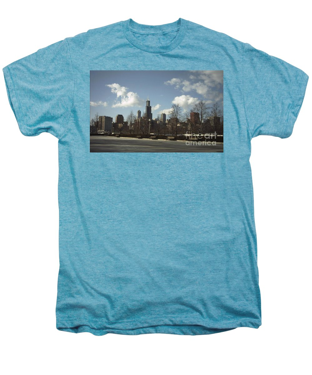 Chicago Skyline Men's Premium T-Shirt featuring the photograph Chicago Skyline Postcard by Minding My Visions by Adri and Ray