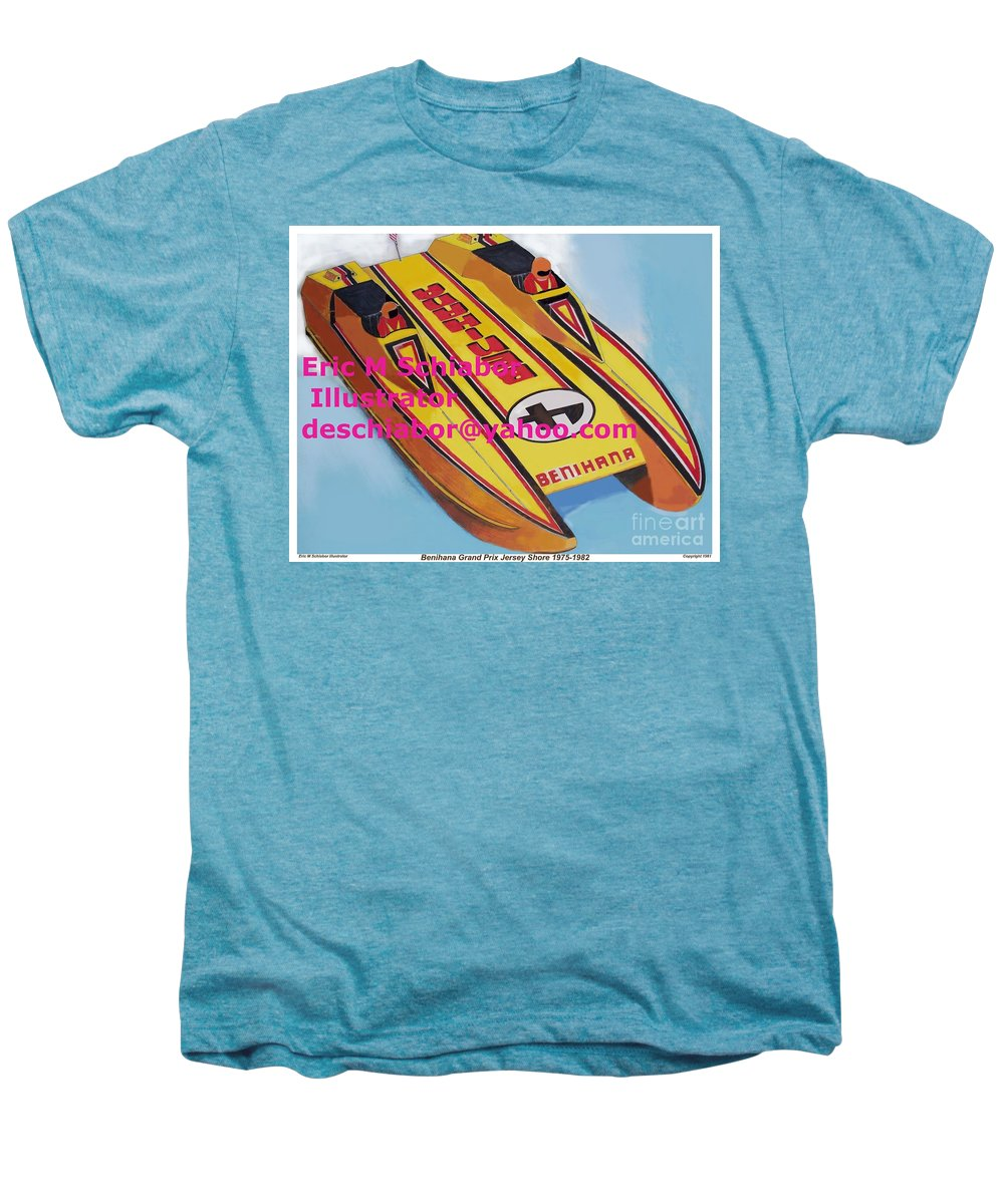 Power Boat Men's Premium T-Shirt featuring the painting Cigarett Power Boat Illustration by Eric Schiabor