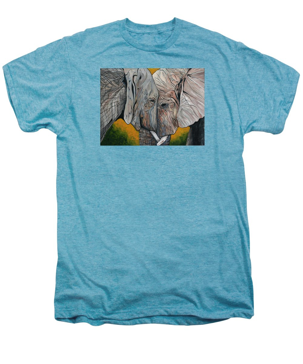 Elephant Men's Premium T-Shirt featuring the painting Comfort by Aimee Vance
