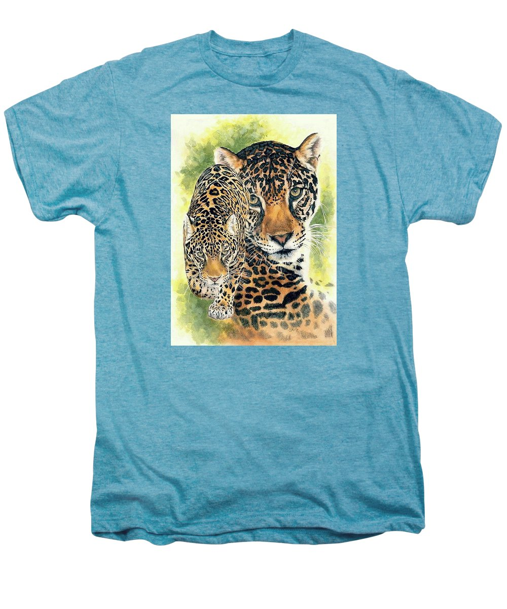 Jaguar Men's Premium T-Shirt featuring the mixed media Compelling by Barbara Keith