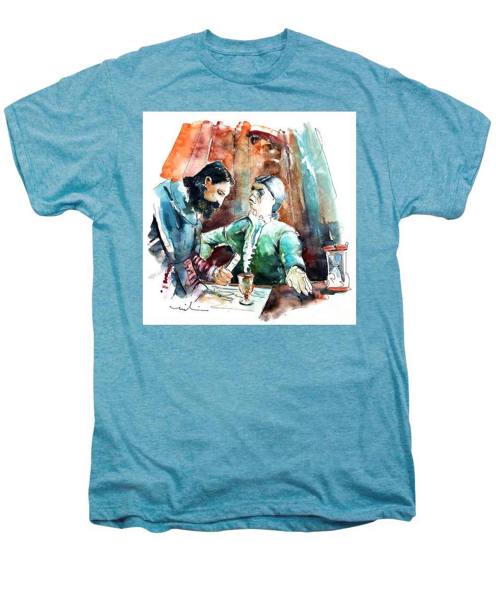 Portugal Men's Premium T-Shirt featuring the painting Conquistadores On The Boat In Vila Do Conde In Portugal by Miki De Goodaboom