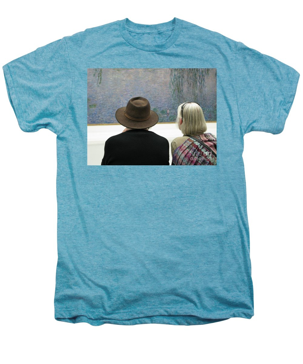 People Men's Premium T-Shirt featuring the photograph Contemplating Art by Ann Horn