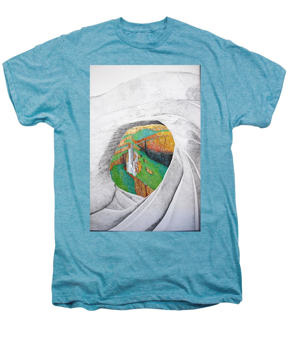 Rocks Men's Premium T-Shirt featuring the painting Cornered Stones by A Robert Malcom