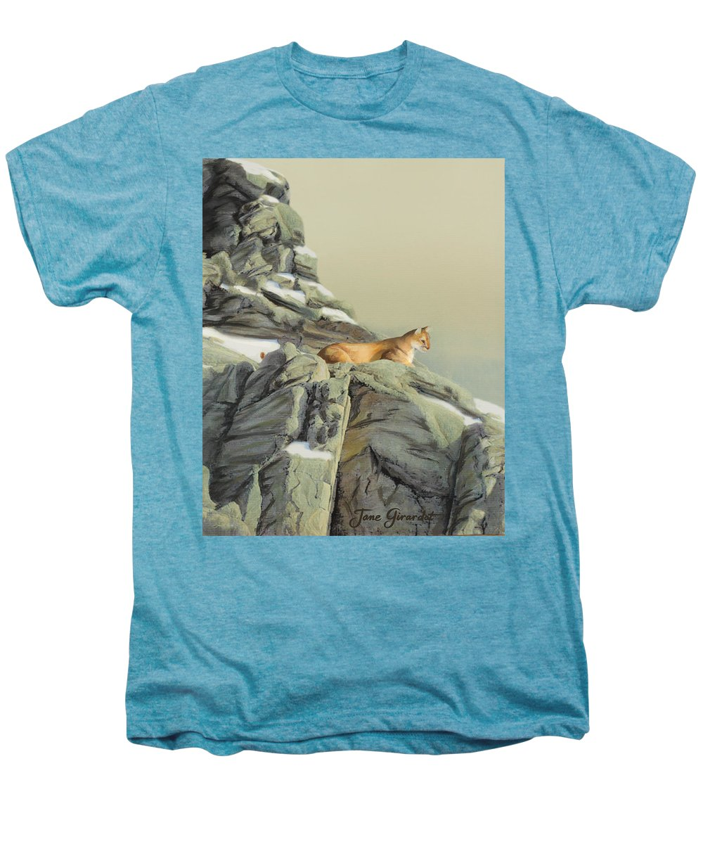 Cougar Men's Premium T-Shirt featuring the painting Cougar Perch by Jane Girardot