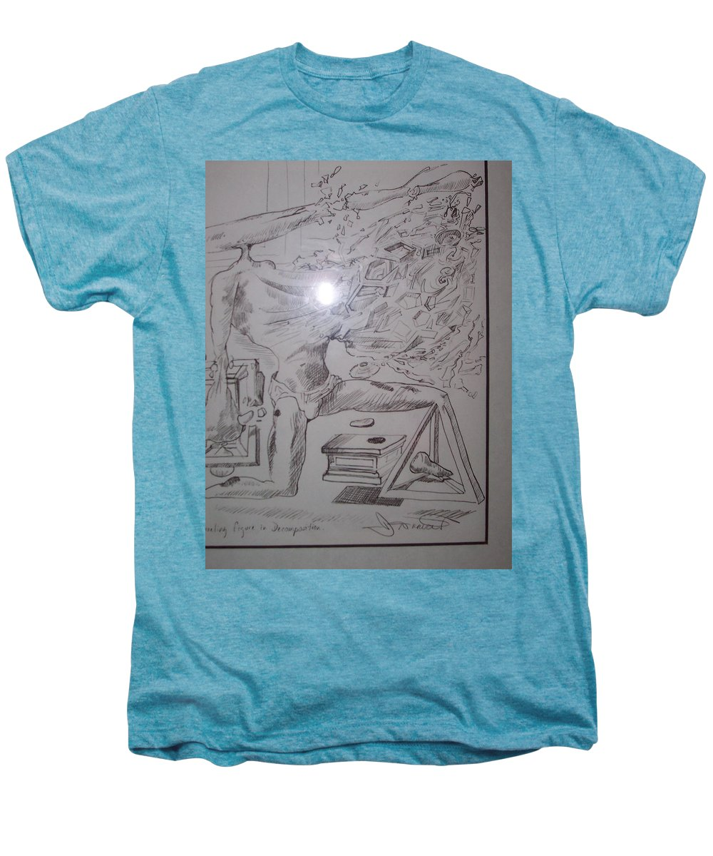 Men's Premium T-Shirt featuring the painting Decomposition Of Kneeling Man by Jude Darrien