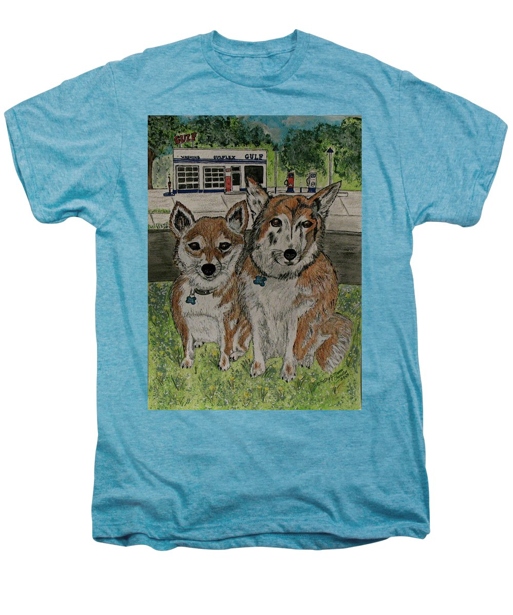 Dogs Men's Premium T-Shirt featuring the painting Dogs In Front Of The Gulf Station by Kathy Marrs Chandler