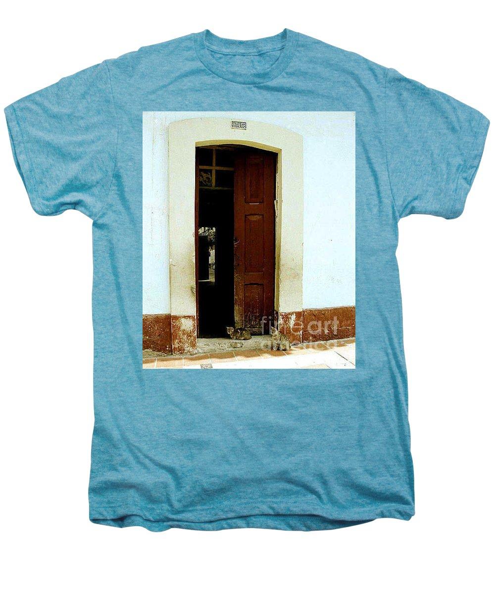 Cats Men's Premium T-Shirt featuring the photograph Dos Puertas Con Dos Gatos by Kathy McClure