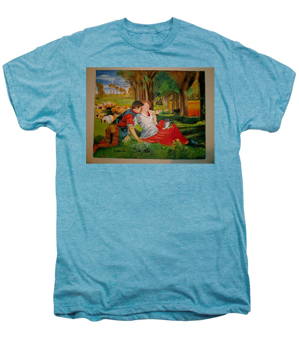 Men's Premium T-Shirt featuring the painting double portrait of freinds Gunner and Jessie by Jude Darrien