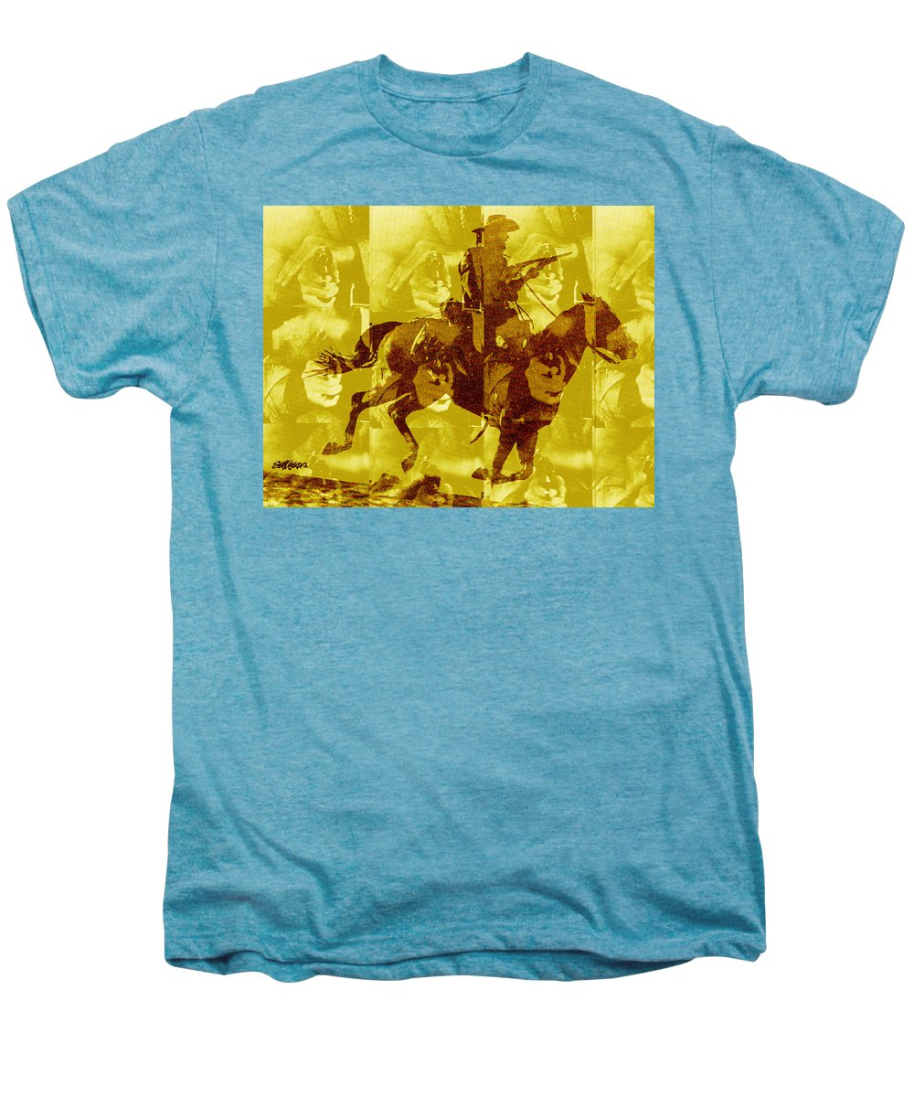 Clint Eastwood Men's Premium T-Shirt featuring the digital art Duel In The Saddle 1 by Seth Weaver