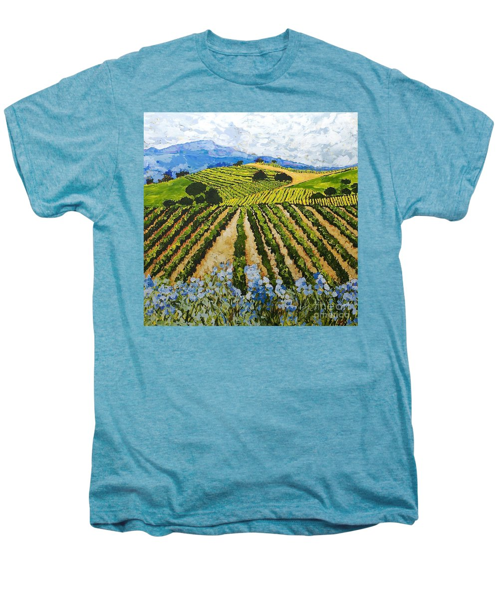 Landscape Men's Premium T-Shirt featuring the painting Early Crop by Allan P Friedlander