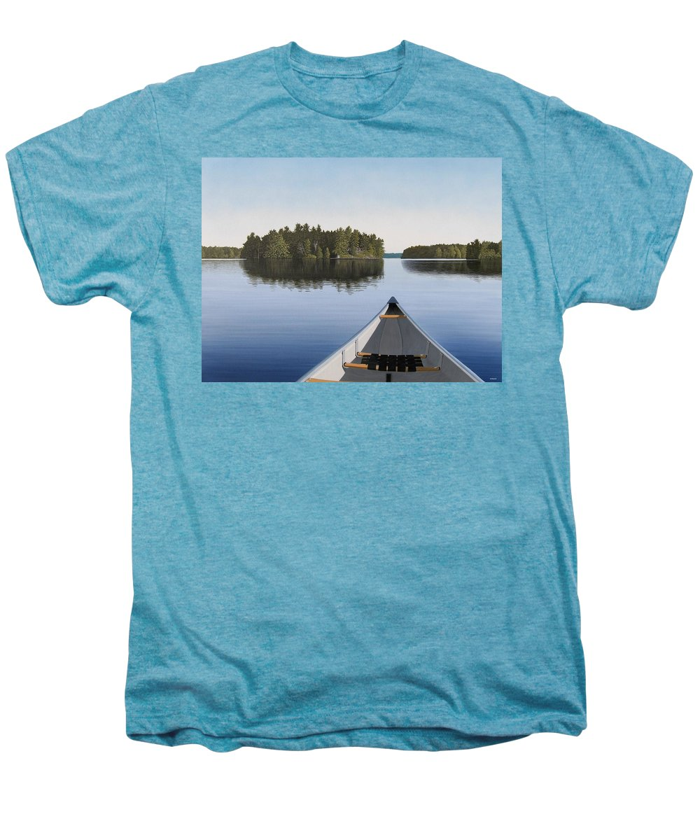 Canoe Men's Premium T-Shirt featuring the painting Early Evening Paddle by Kenneth M Kirsch