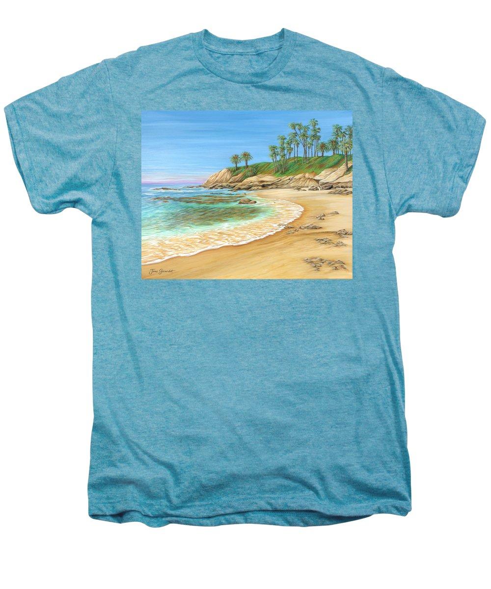 Beach Men's Premium T-Shirt featuring the painting Early Morning Laguna by Jane Girardot