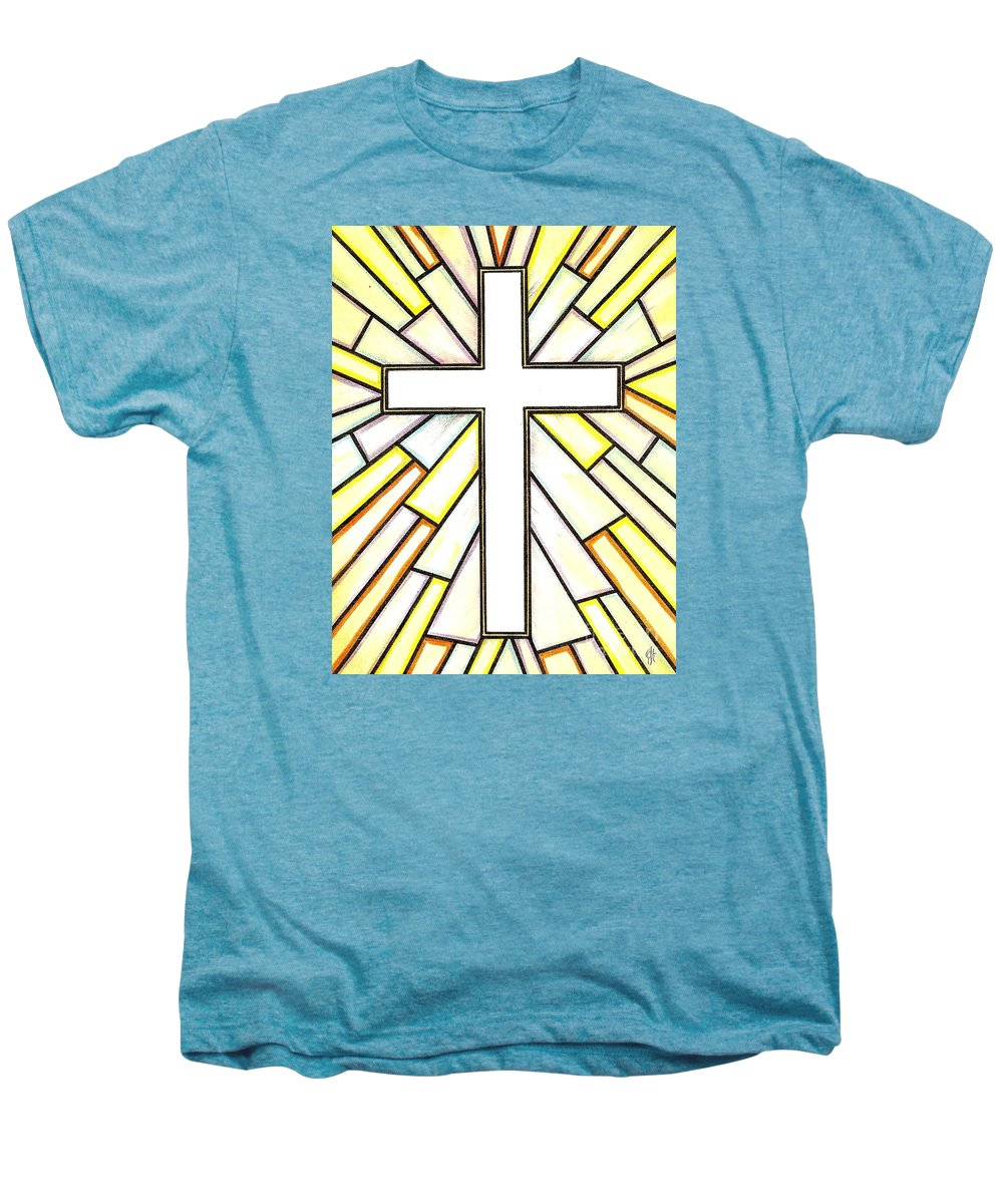 Cross Men's Premium T-Shirt featuring the painting Easter Cross 3 by Jim Harris