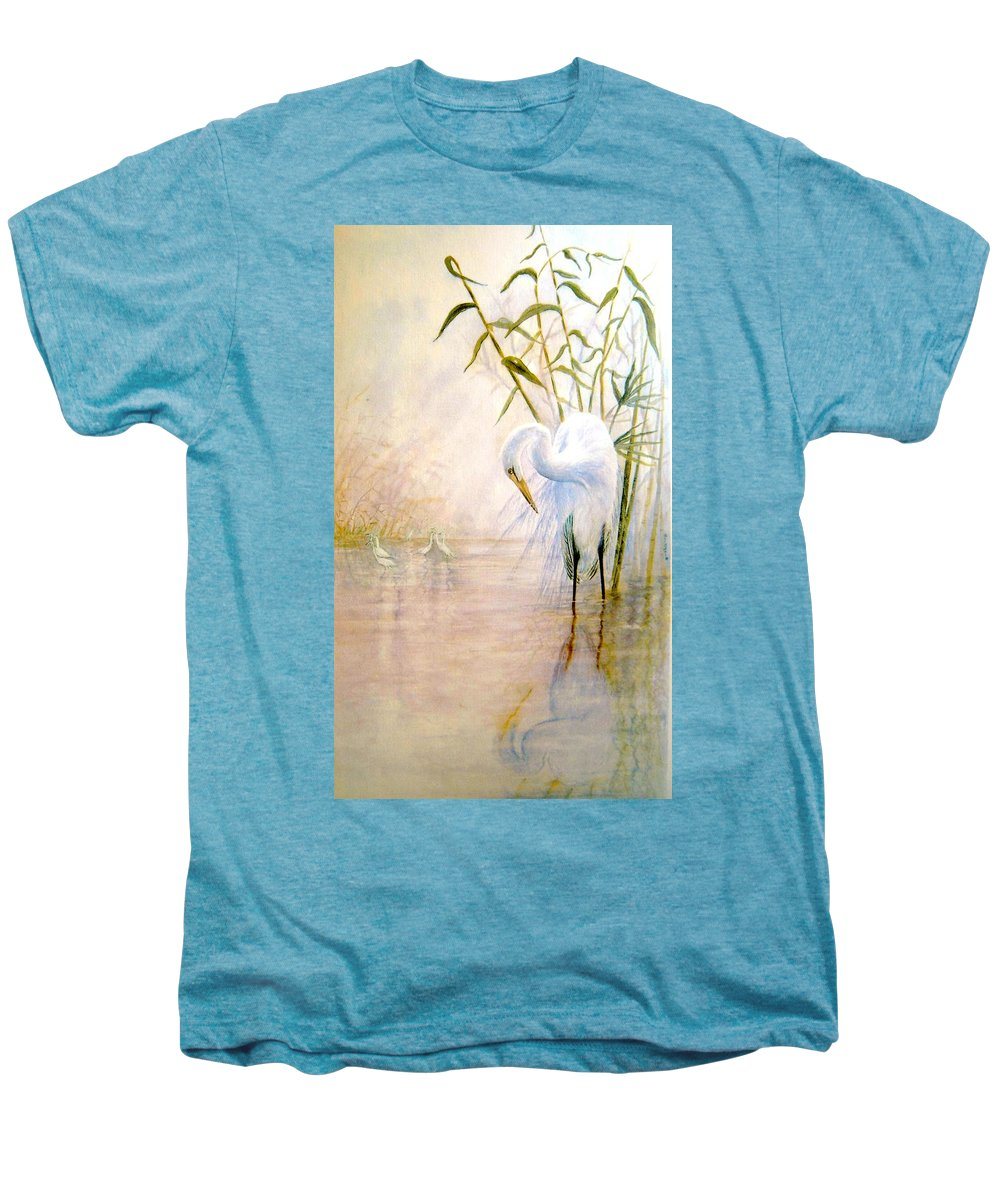 Eret; Bird; Low Country Men's Premium T-Shirt featuring the painting Egret by Ben Kiger