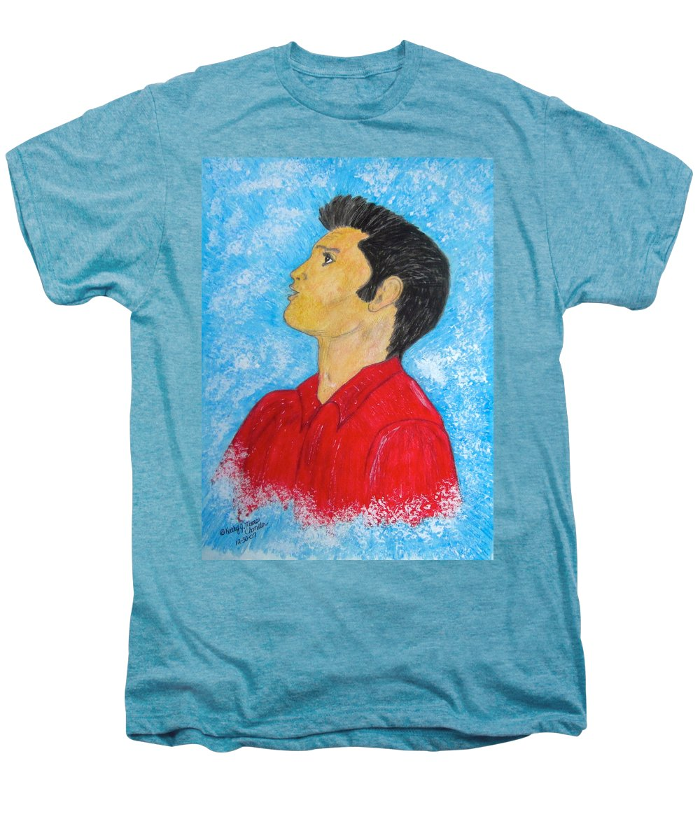 Elvis Presely Men's Premium T-Shirt featuring the painting Elvis Presley Singing by Kathy Marrs Chandler