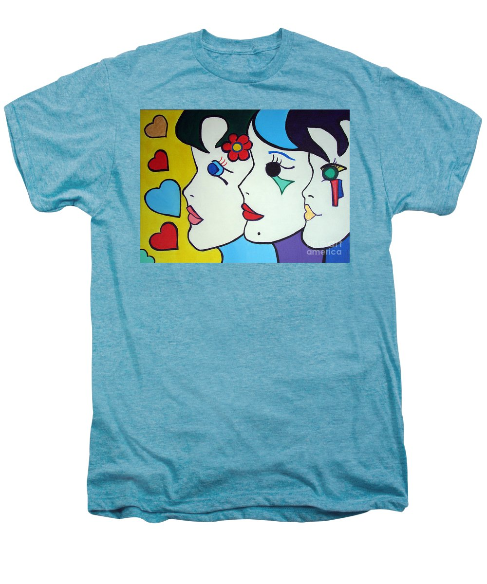 Pop Art Men's Premium T-Shirt featuring the painting Falling In Love by Silvana Abel