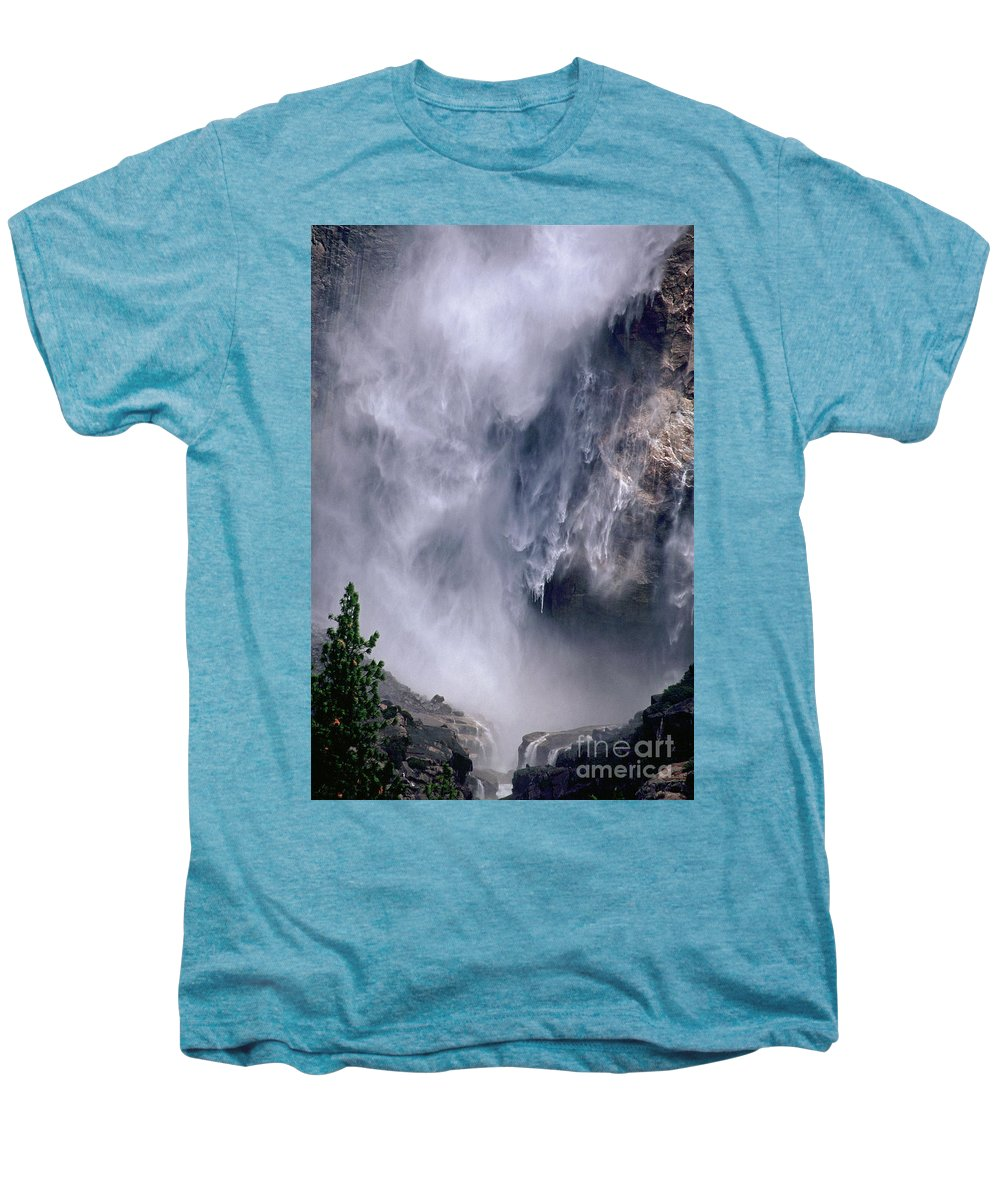 Waterfall Men's Premium T-Shirt featuring the photograph Falling Water by Kathy McClure