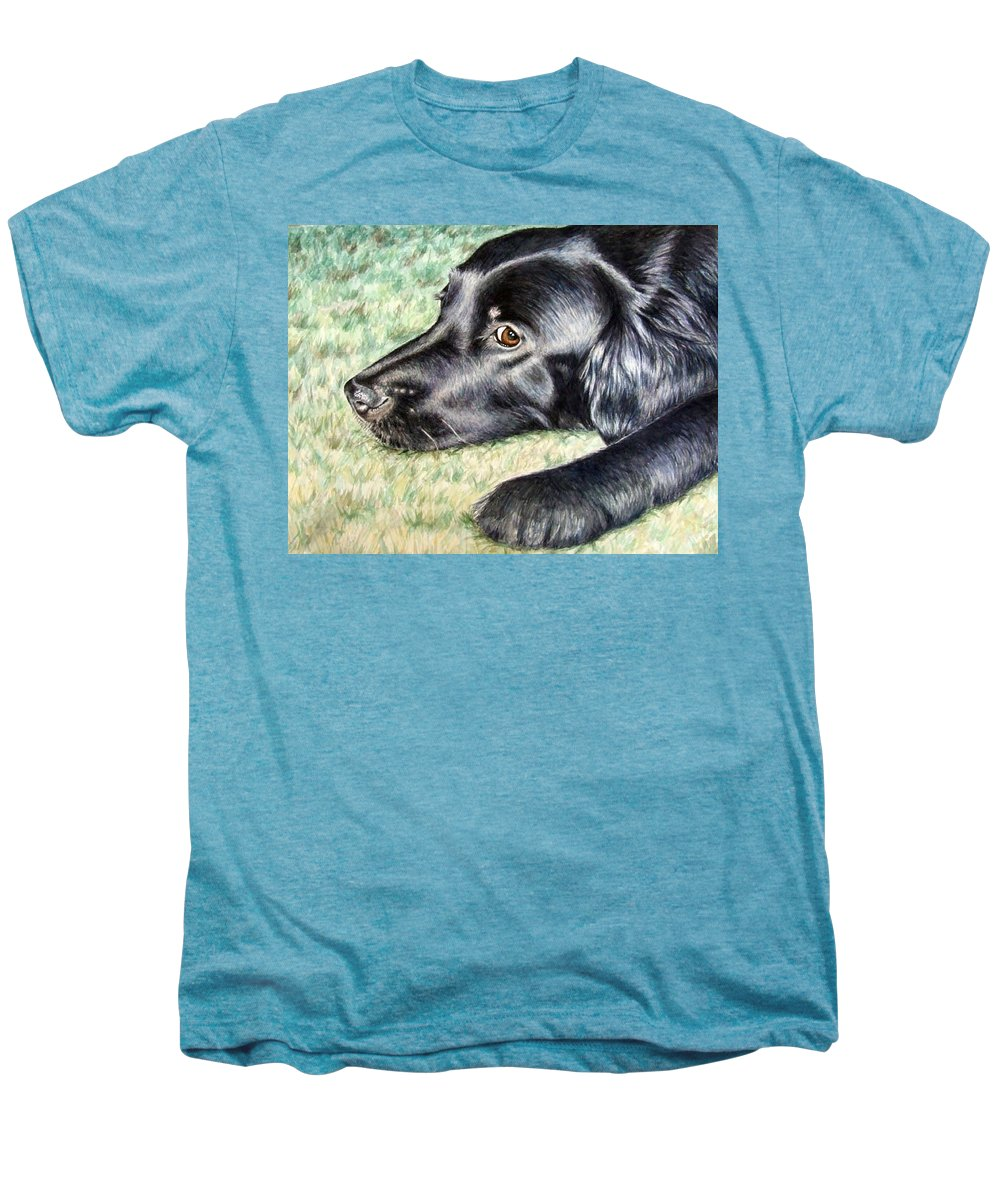 Dog Men's Premium T-Shirt featuring the painting Flat Coated Retriever by Nicole Zeug