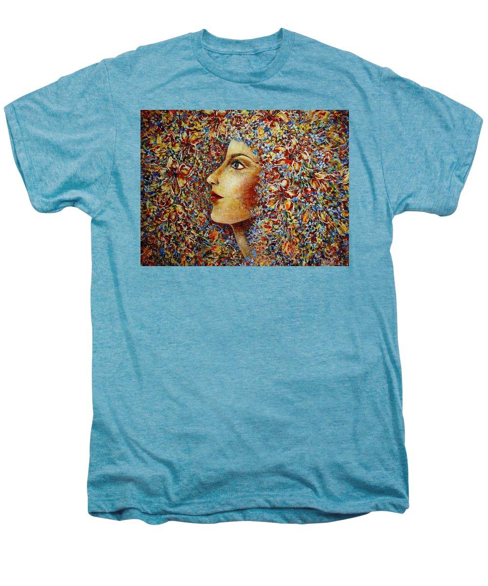 Flower Goddess Men's Premium T-Shirt featuring the painting Flower Goddess. by Natalie Holland