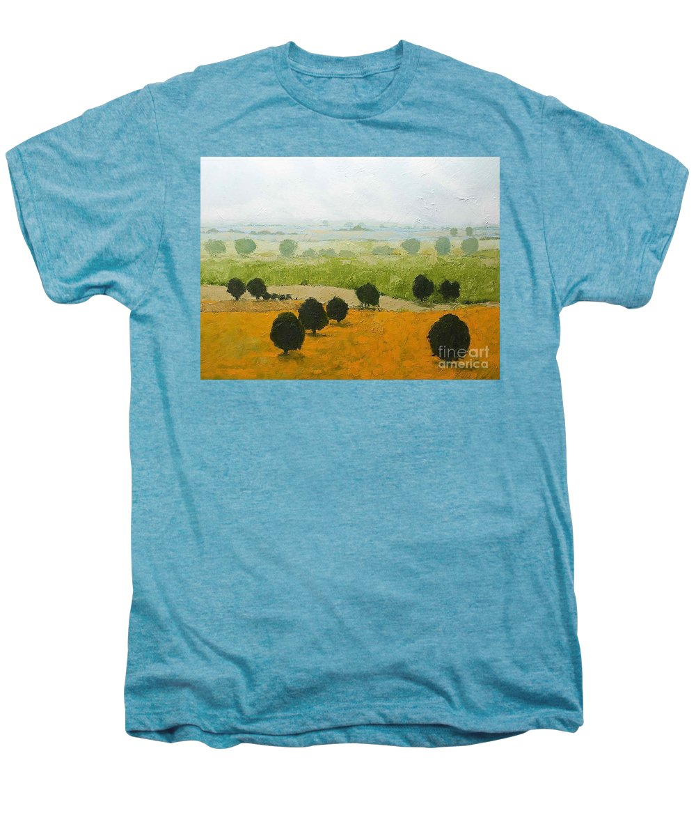 Landscape Men's Premium T-Shirt featuring the painting Fog Lifting Fast by Allan P Friedlander