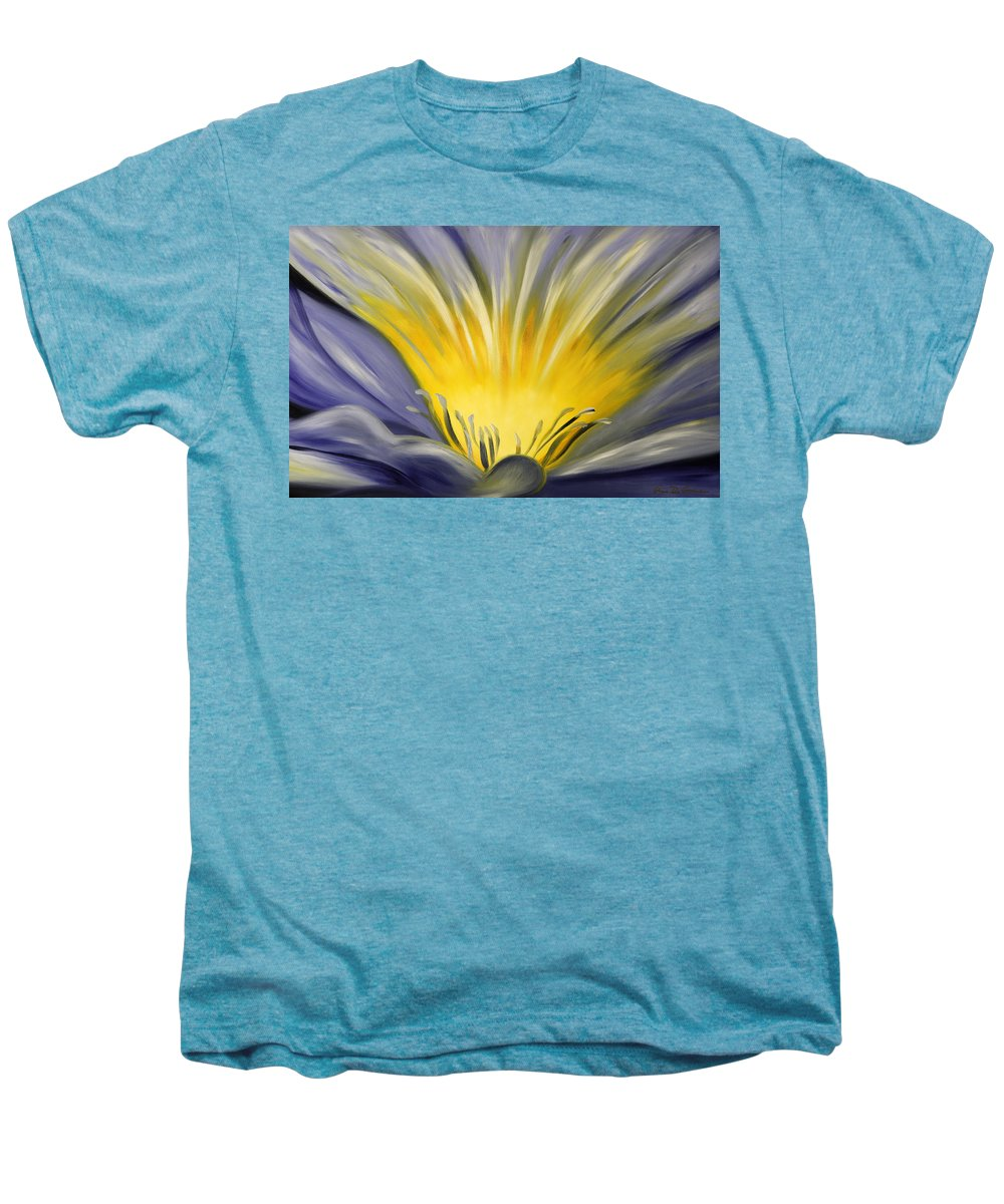 Blue Men's Premium T-Shirt featuring the painting From The Heart Of A Flower Blue by Gina De Gorna