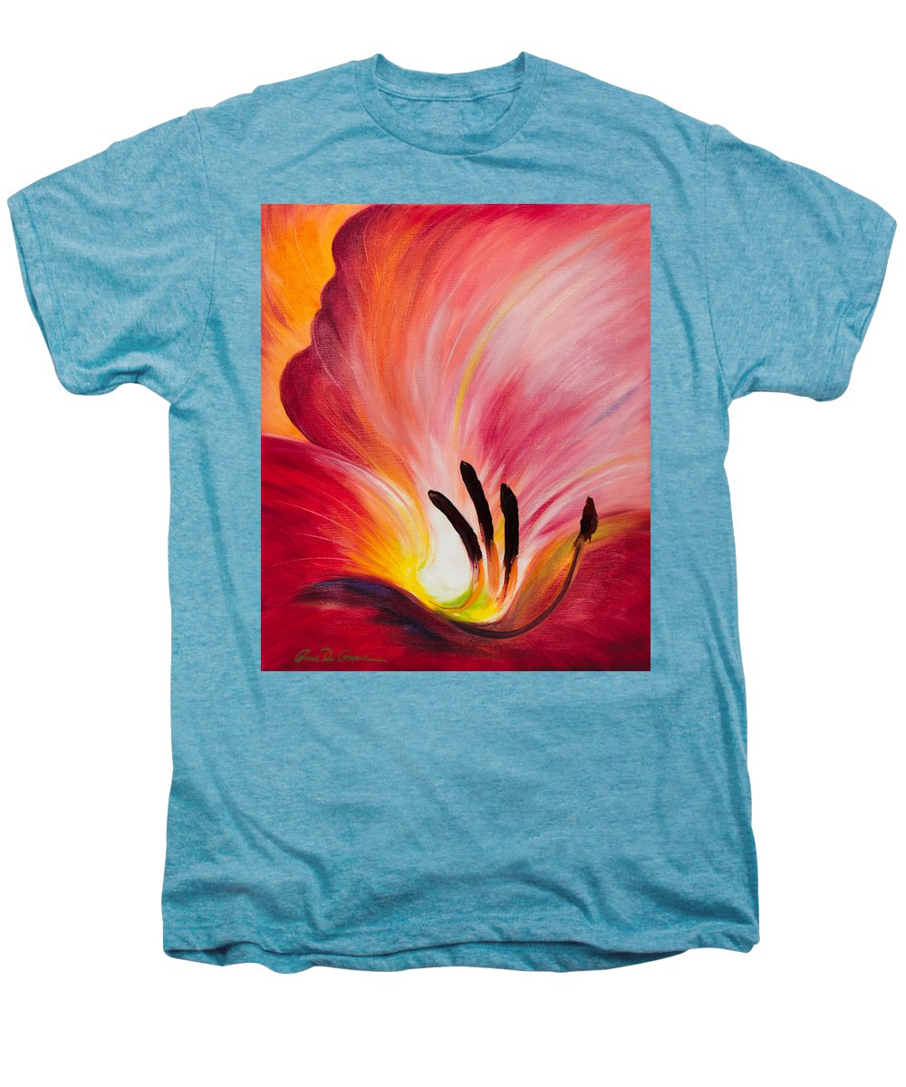 Red Men's Premium T-Shirt featuring the painting From The Heart Of A Flower Red I by Gina De Gorna