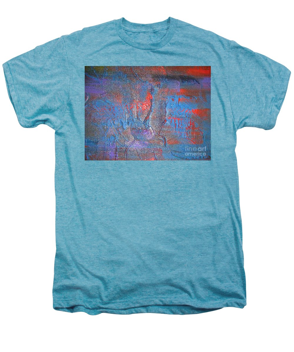 Modern Art Men's Premium T-Shirt featuring the painting Funny Rain by Silvana Abel