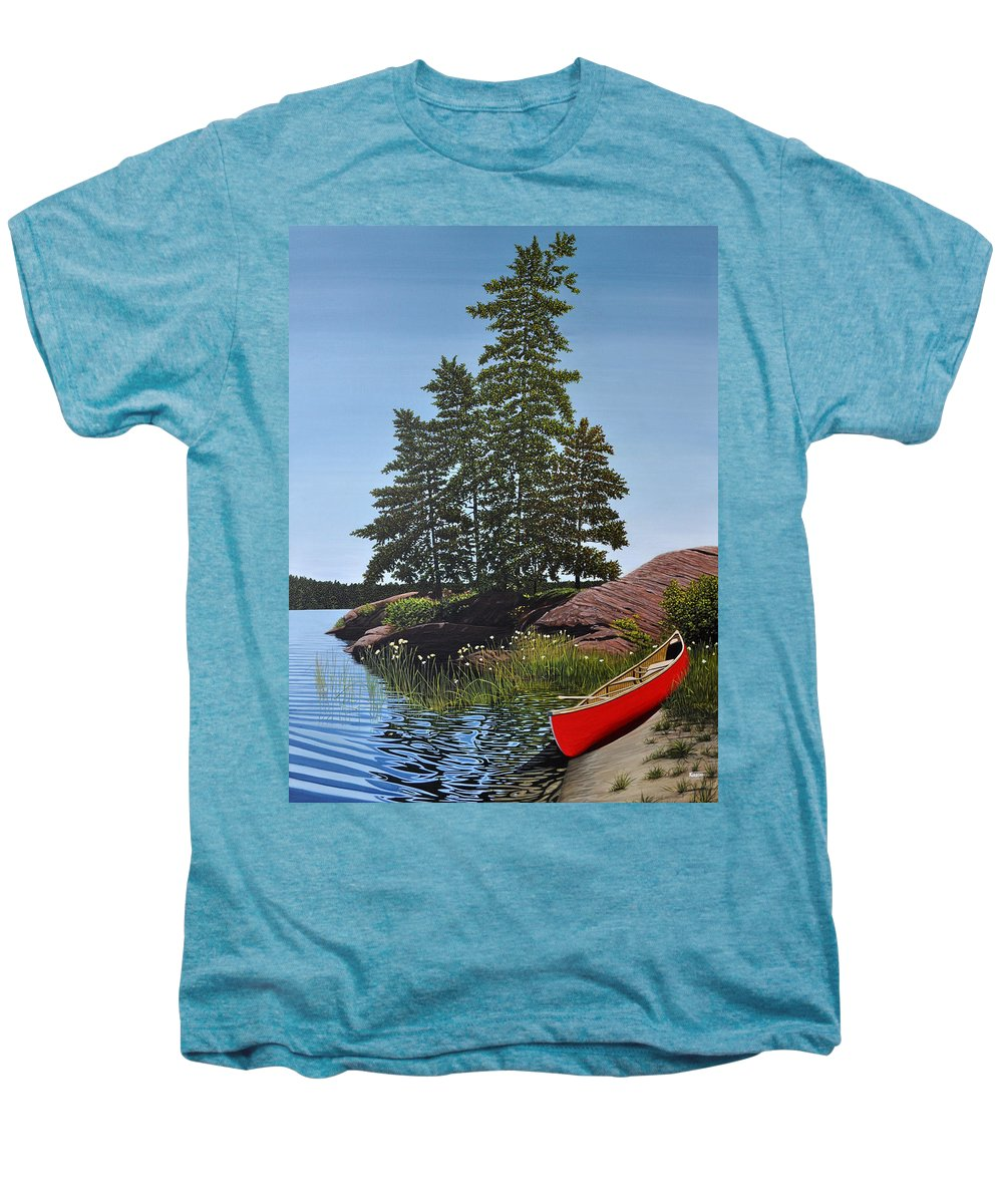 Landscapes Men's Premium T-Shirt featuring the painting Georgian Bay Beached Canoe by Kenneth M Kirsch