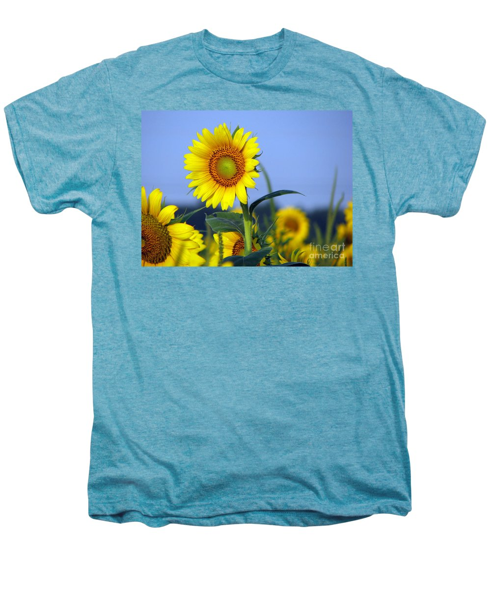 Sunflower Men's Premium T-Shirt featuring the photograph Getting To The Sun by Amanda Barcon