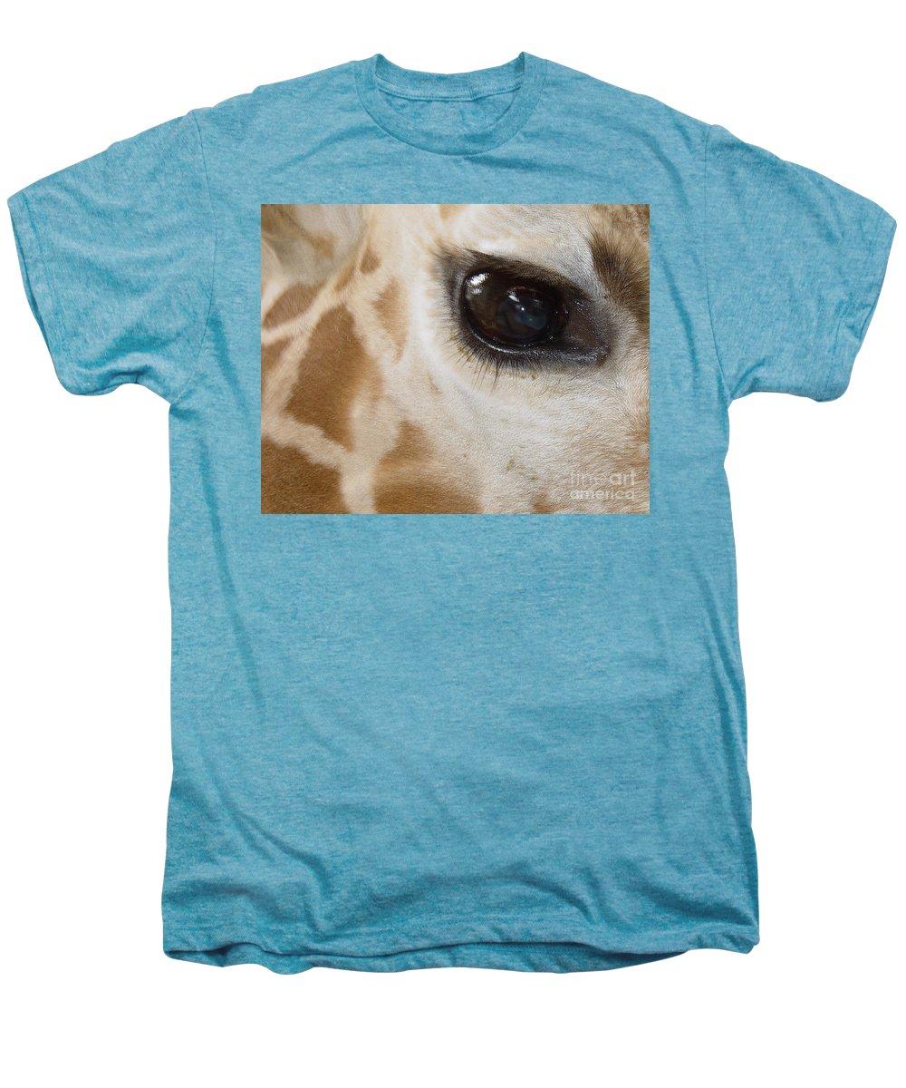 Giraffe Men's Premium T-Shirt featuring the photograph Giraffe Eye by Heather Coen