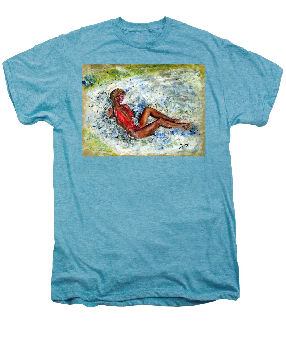 Girl Men's Premium T-Shirt featuring the painting Girl In A Red Swimsuit by Tom Conway