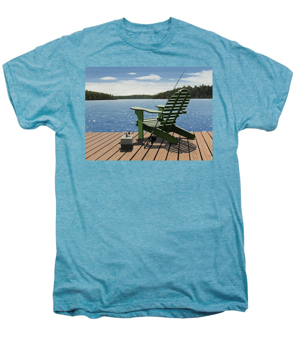 Landscapes Men's Premium T-Shirt featuring the painting Gone Fishing by Kenneth M Kirsch