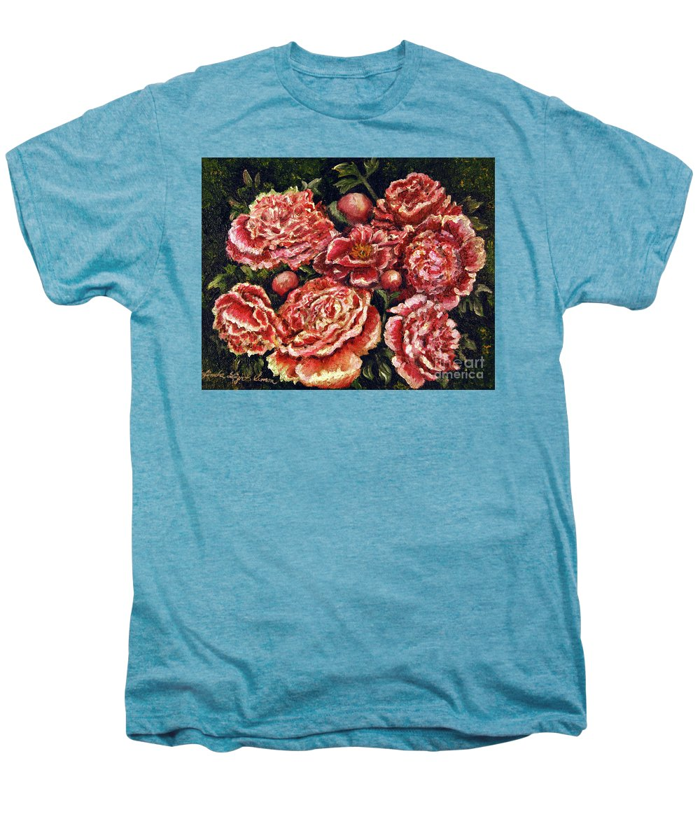 Pink Men's Premium T-Shirt featuring the painting Grandma Lights Peonies by Linda Simon