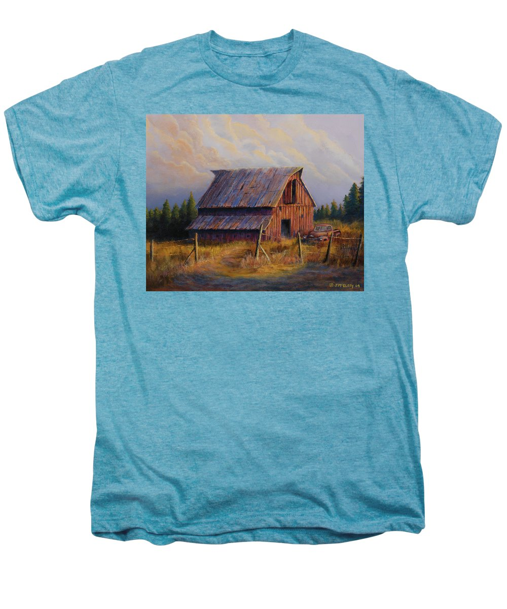 Barn Men's Premium T-Shirt featuring the painting Grandpas Truck by Jerry McElroy