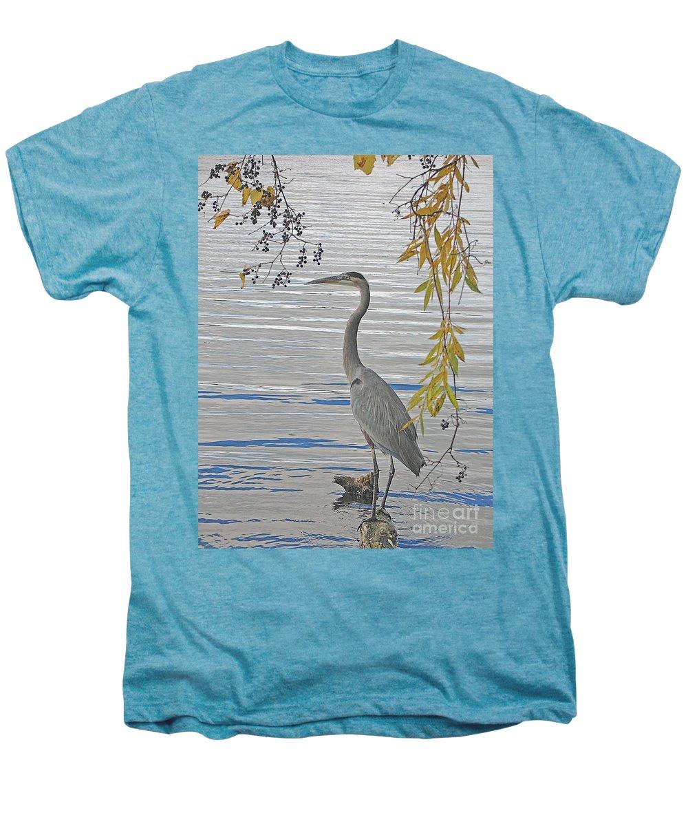 Heron Men's Premium T-Shirt featuring the photograph Great Blue Heron by Ann Horn
