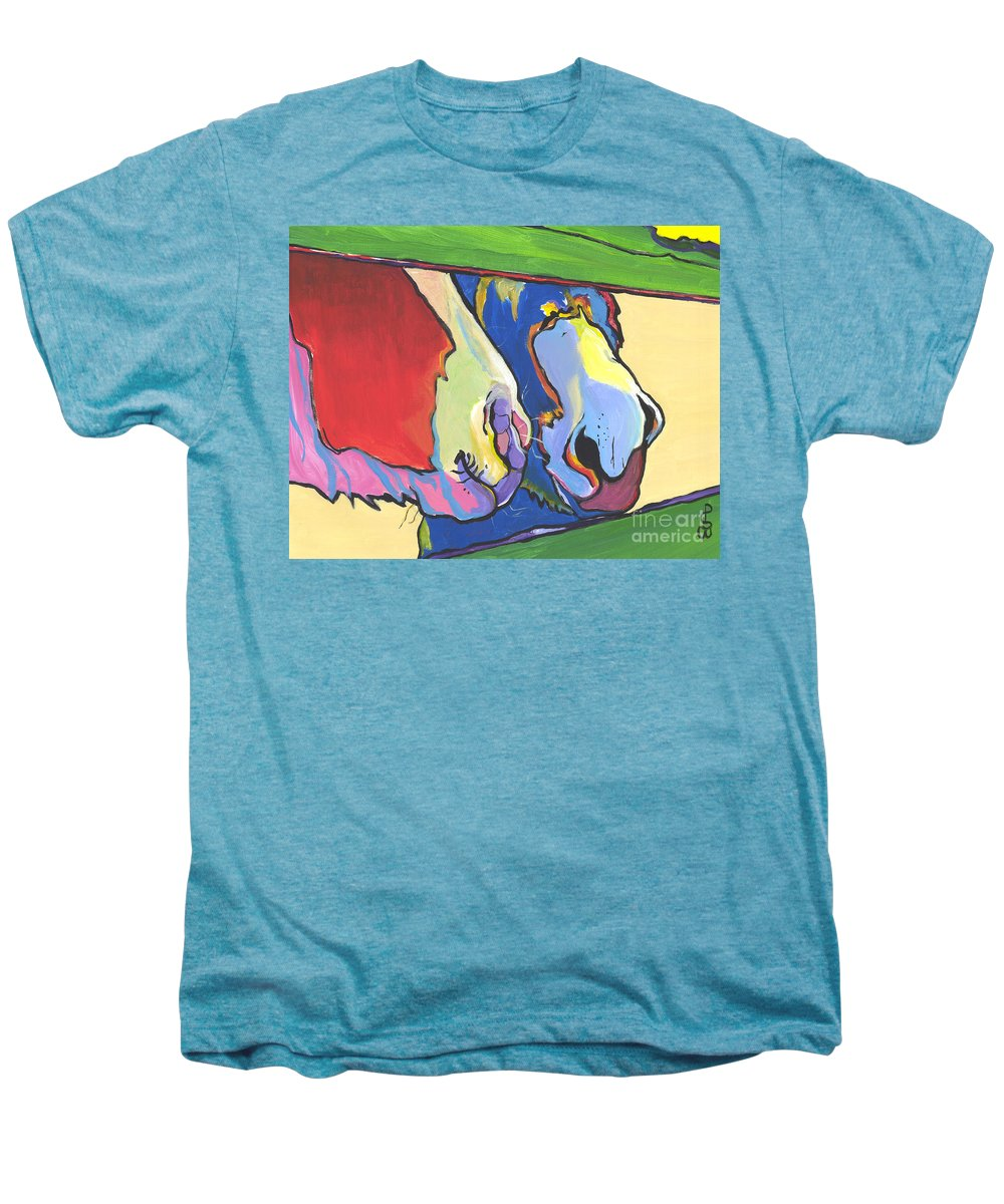 Pat Saunders-white Canvas Prints Men's Premium T-Shirt featuring the painting Green Fence by Pat Saunders-White