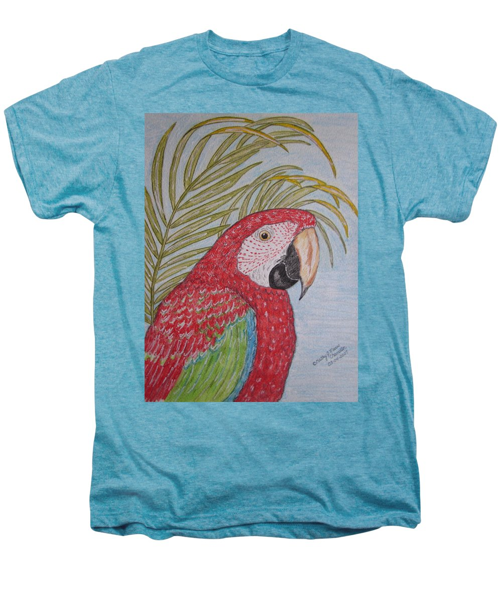 Green Wing Macaw Men's Premium T-Shirt featuring the painting Green Winged Macaw by Kathy Marrs Chandler