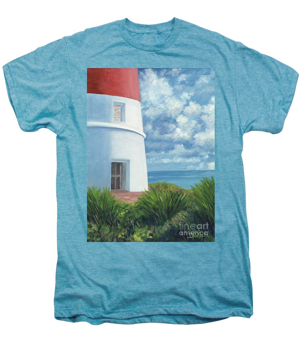 Seascape Men's Premium T-Shirt featuring the painting Gun Cay Lighthouse by Danielle Perry