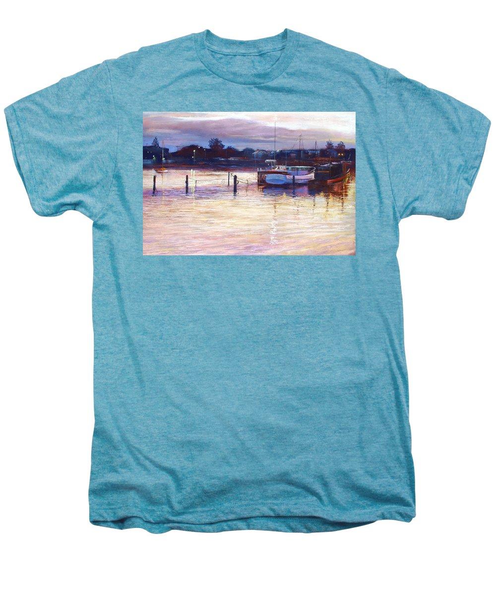 Lynda Robinson Men's Premium T-Shirt featuring the pastel Harbour Lights - Apollo Bay by Lynda Robinson