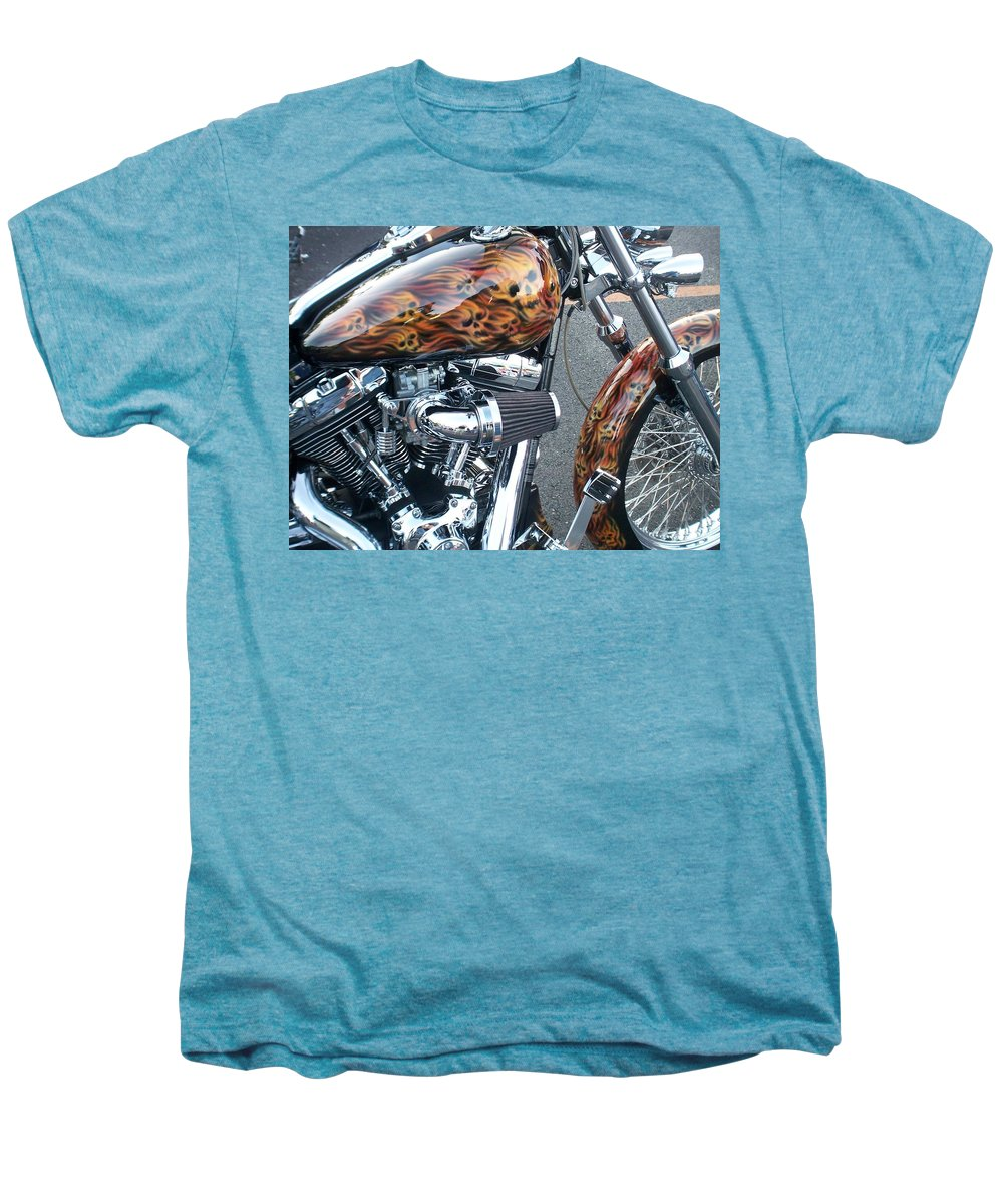 Motorcycles Men's Premium T-Shirt featuring the photograph Harley Close-up Skull Flame by Anita Burgermeister