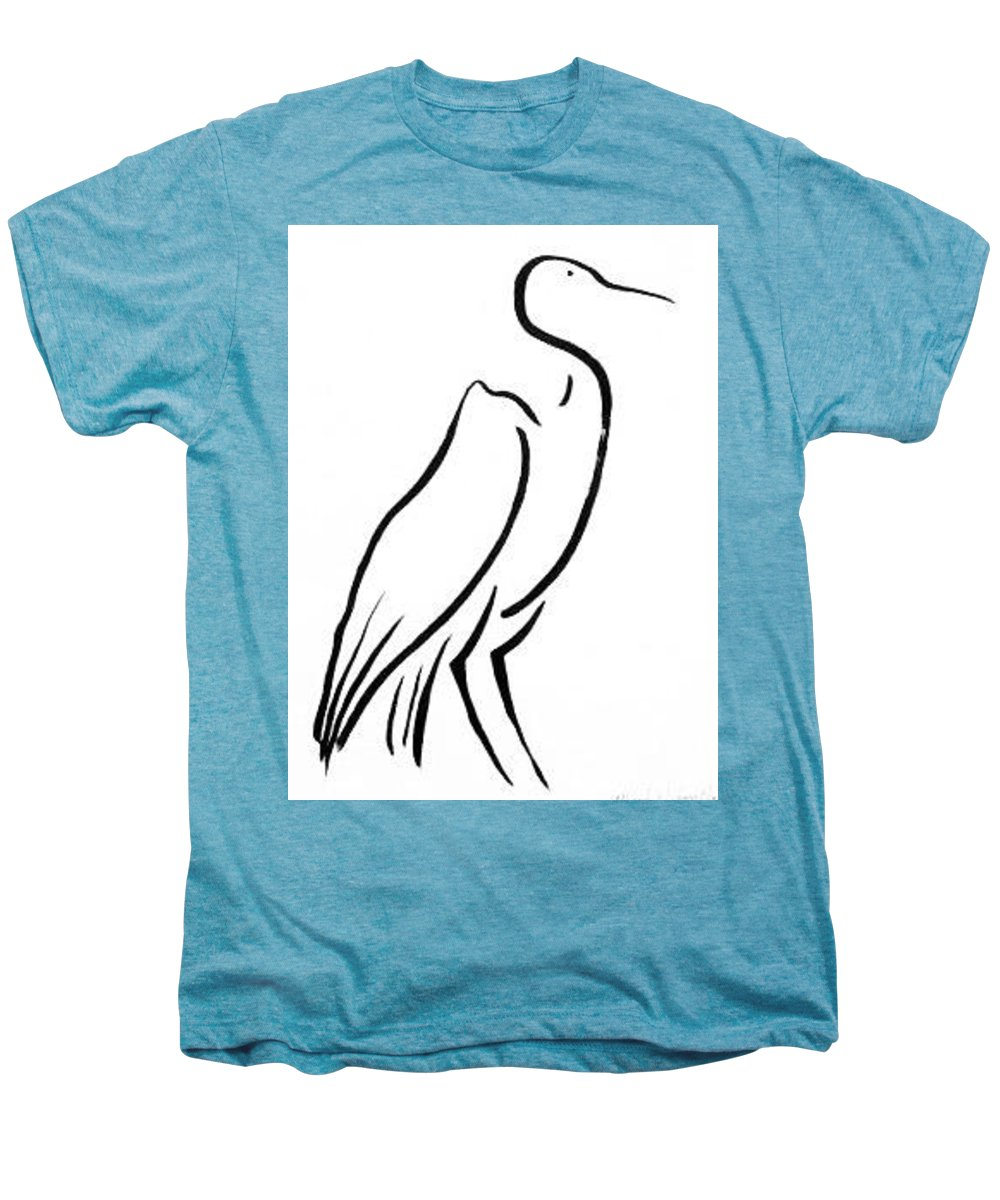 Calligraphy Men's Premium T-Shirt featuring the drawing Heron by Micah Guenther