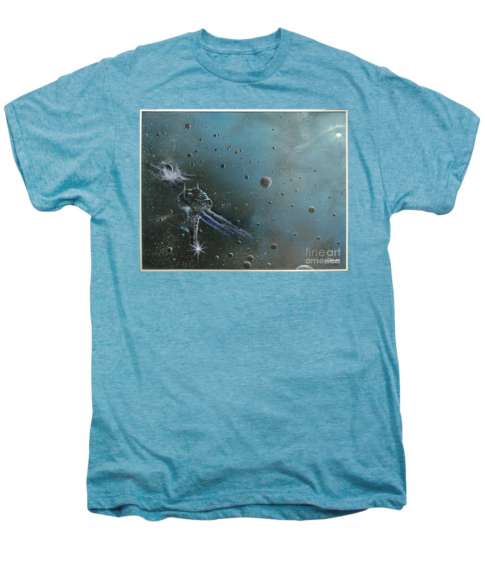 Astro Men's Premium T-Shirt featuring the painting Hiding In The Field by Murphy Elliott