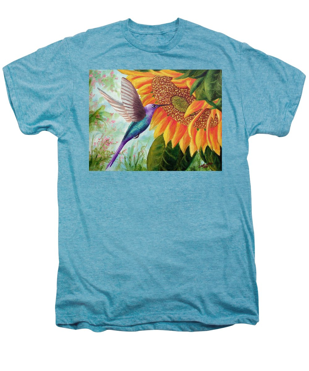 Hummingbird Men's Premium T-Shirt featuring the painting Humming For Nectar by David G Paul