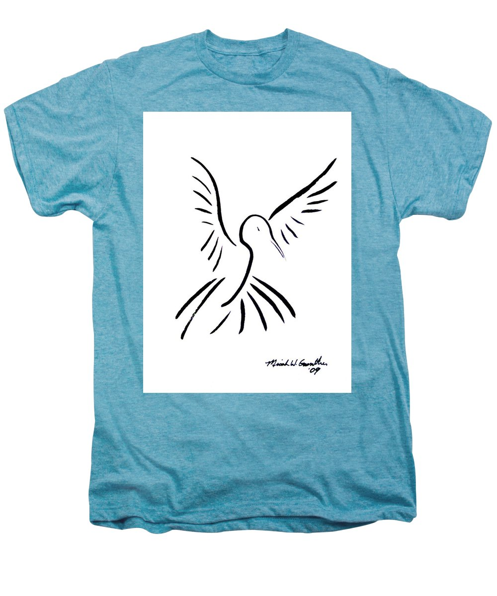 Bird Men's Premium T-Shirt featuring the drawing Hummingbird by Micah Guenther