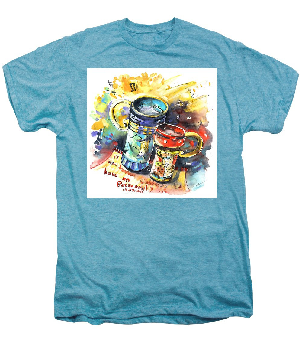 Cafe Crem Men's Premium T-Shirt featuring the painting If It Were Not For Caffeine by Miki De Goodaboom