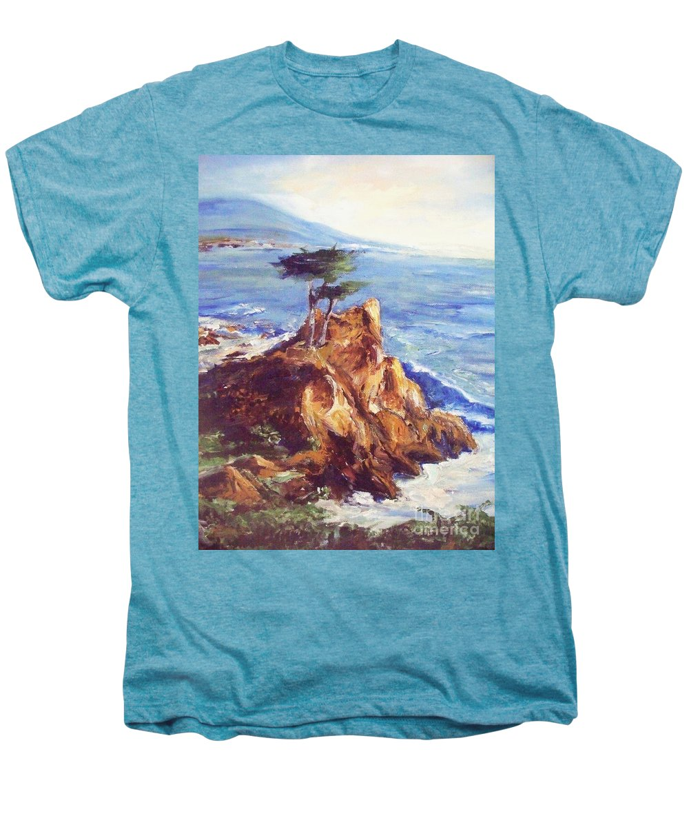 Seascape Men's Premium T-Shirt featuring the painting Imaginary Cypress by Eric Schiabor